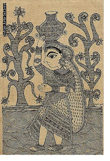 Woman Carrying Water - Mithila painting