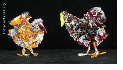 Recycled Potato Chip Bag Chickens (small)