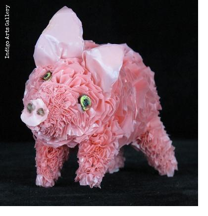 Recycled Plastic Bag Pig - small