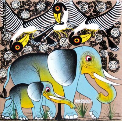 Elephants with Birds