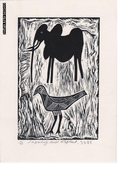 Lapwing and Elephant - Linocut print