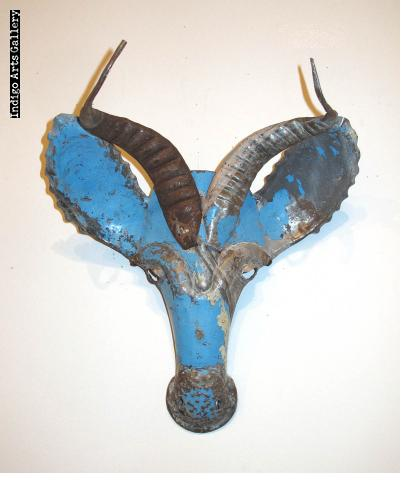 Recycled steel Springbok Mask from Zimbabwe