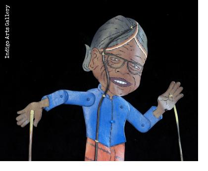 """Mbah Marijan"" (The Volcano Keeper) ""Wayang Kulit"" Javanese Shadow Puppet by Tri Suwarno"
