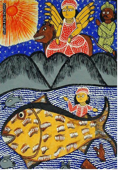 Durga and the Tsunami Patachitra Story Scroll