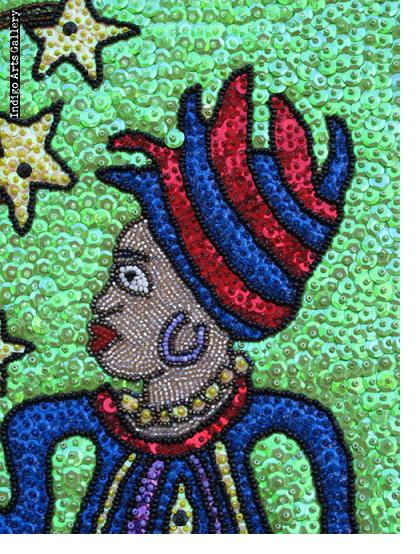 Mambo with Purple Boots - Drapo (Sequinned Banner)