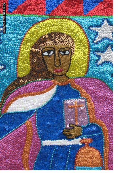 Erzulie la Flambeau (St. Martha) Sequinned Vodou Banner