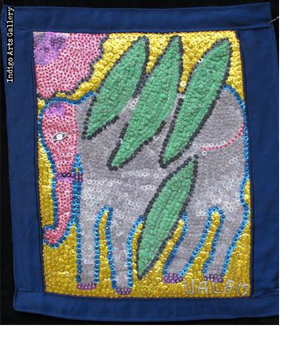 Flying Elephant Sequinned Banner