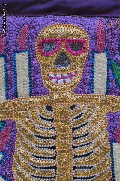 Dancing Ghede Sequinned Vodou Banner