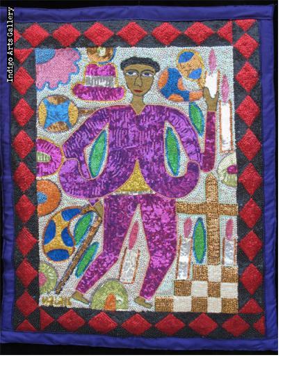 Baron Samedi Sequinned Vodou Banner