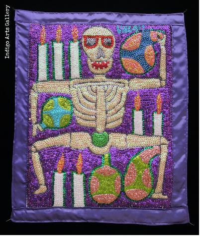 Dancing Ghede - Vodou Flag