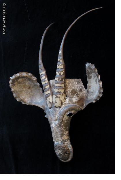 Recycled steel Sable Antelope Mask