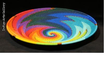 Imbenge Zulu Telephone Wire Basket - Medium Shallow Flared (bright multicolor/black)