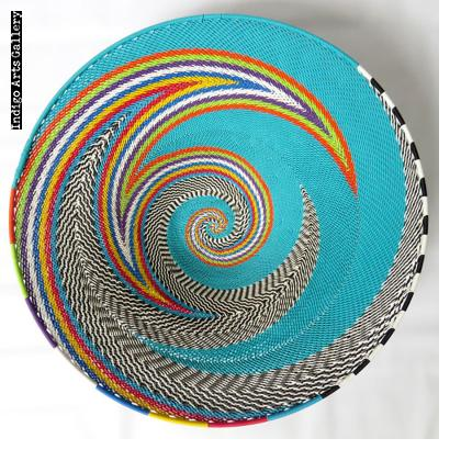 Imbenge Telephone Wire Basket - Large shallow flared shape - Turquoise Multicolor