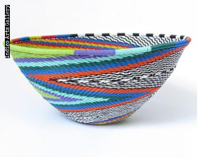 Imbenge Zulu Telephone Wire Basket (bowl shape)  - Green Multicolor