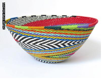 Imbenge Zulu Telephone Wire Basket (medium bowl shape) - Red Multicolor