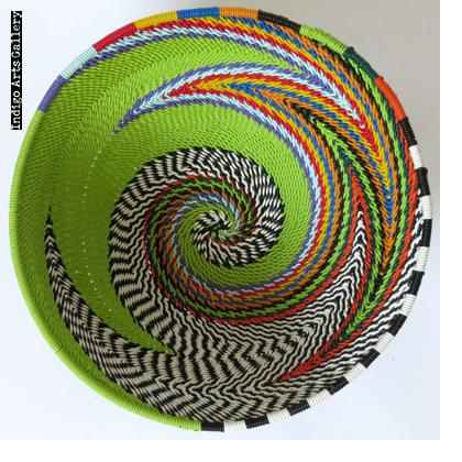 Imbenge Zulu Telephone Wire Basket (bowl shape)  Green Multicolor