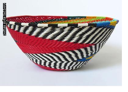Imbenge Zulu Telephone Wire Basket (bowl shape) Red Multicolor