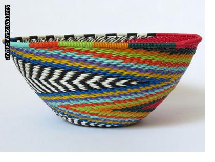 Imbenge Zulu Telephone Wire Basket (bowl shape) Red Multicolor