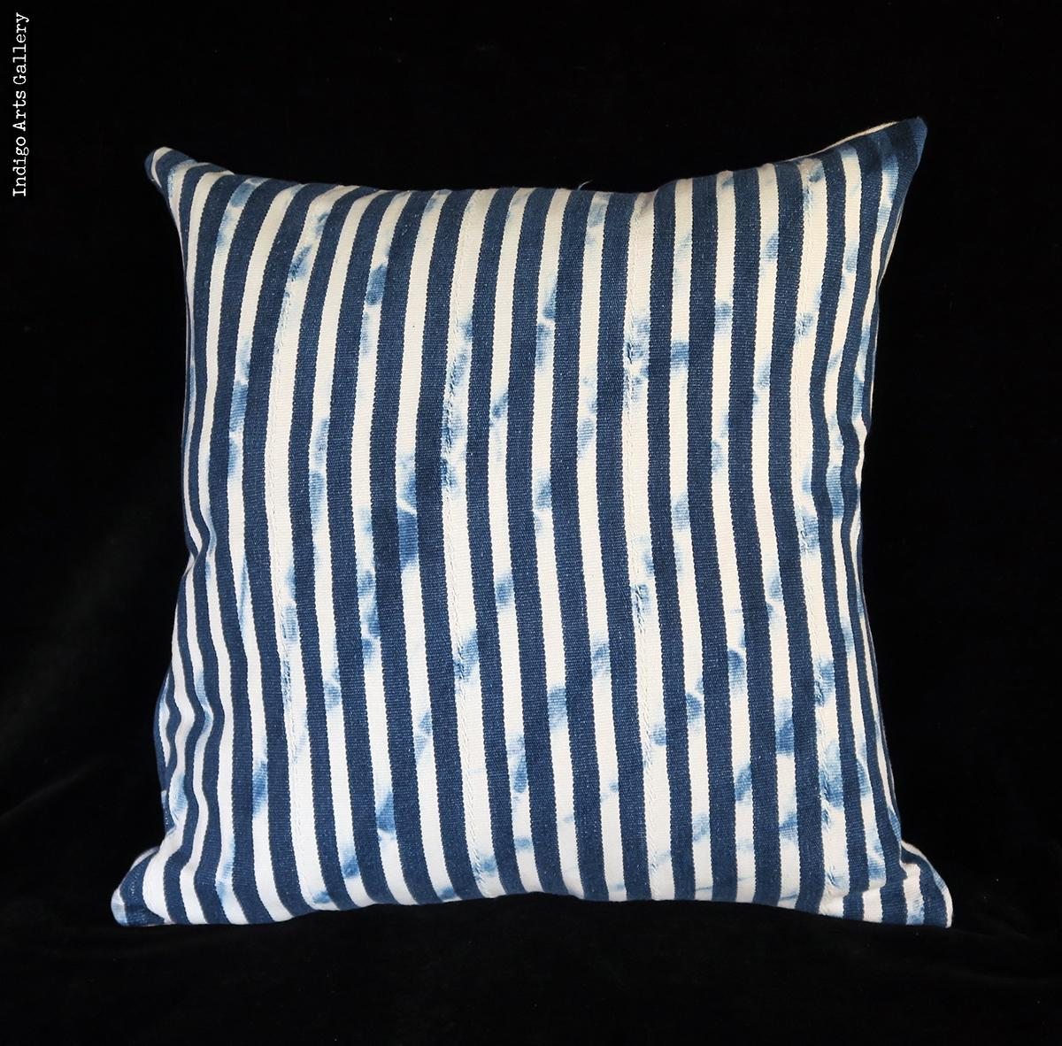 Vintage Indigo Strip Weave Baule Cloth Pillow Indigo Arts
