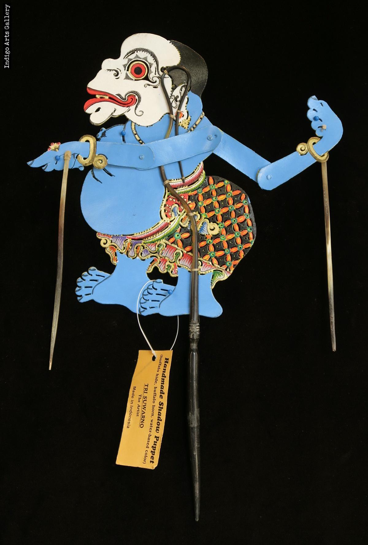 Bagong Clown Relax Man Wayang Kulit Javanese Shadow Puppet By Tri Suwarno Indigo Arts
