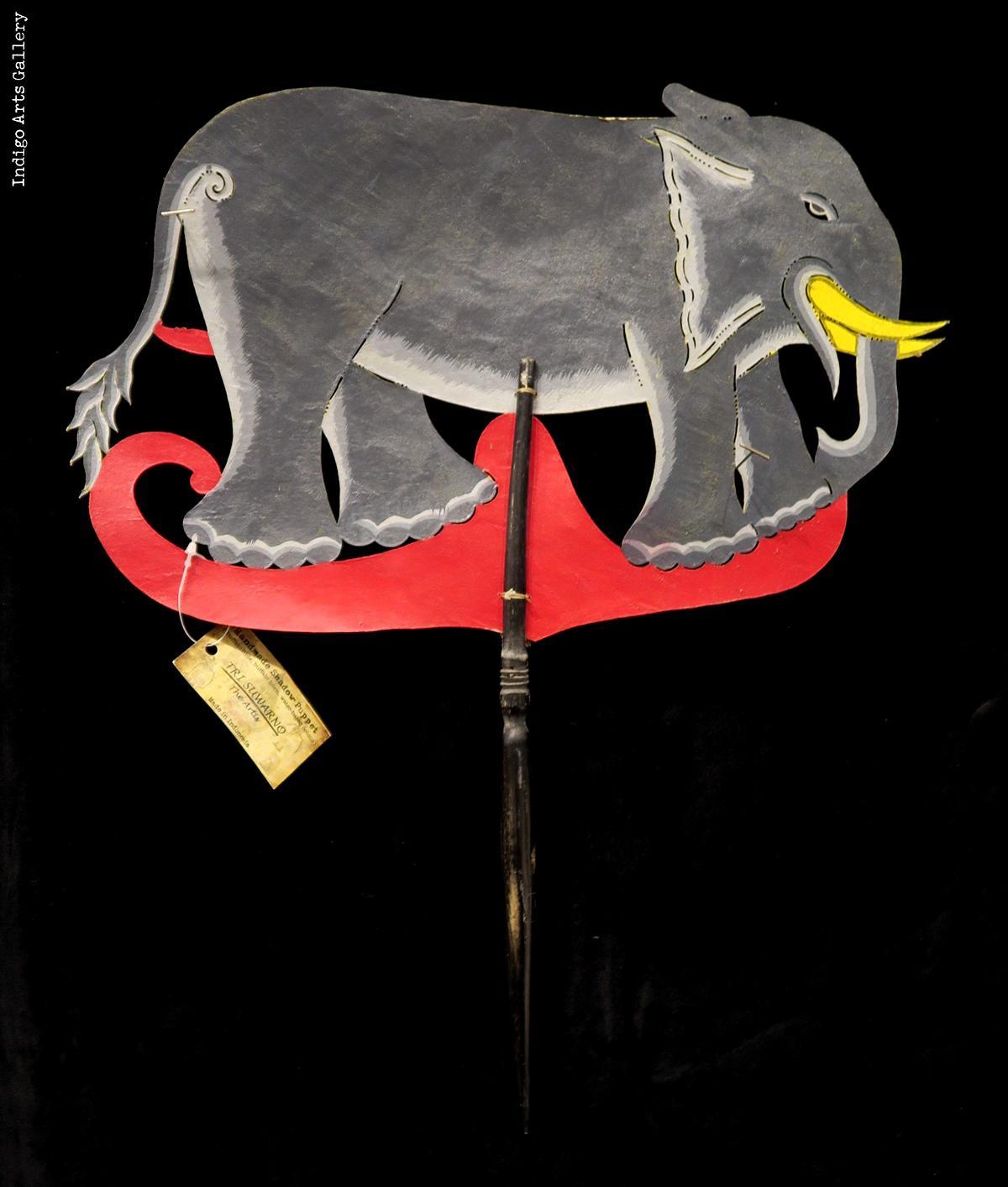 Gajah Elephant Wayang Kulit Javanese Shadow Puppet By Tri