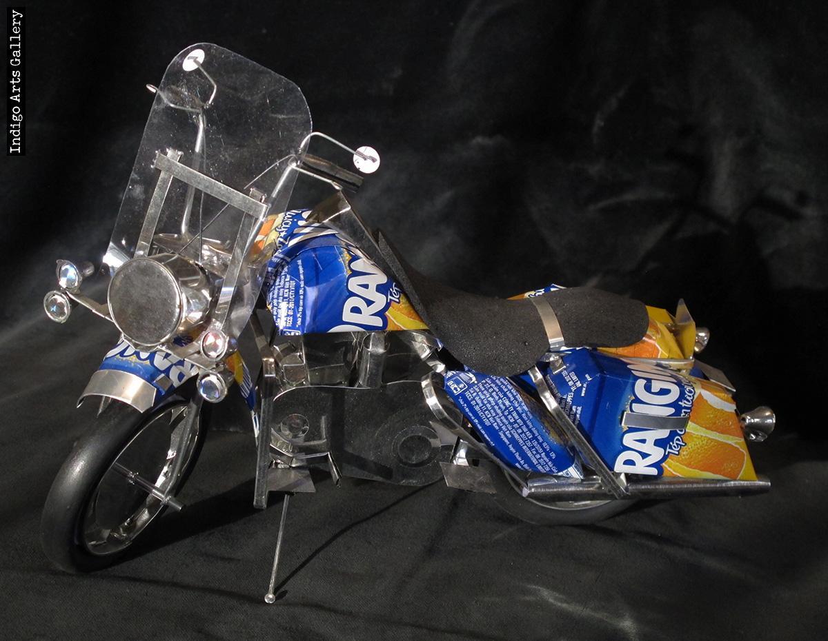 Soda Can Motorcycle Large Indigo Arts
